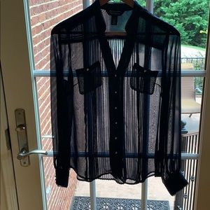 Whbm navy sheer button down blouse